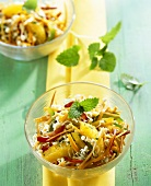 Sprout salad with carrots and oranges