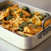 Chicken with pickled lemons, olives and thyme