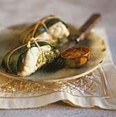 Monkfish in banana leaf with caramelised lemon