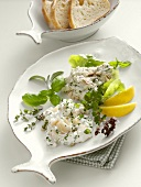 Tuna spread with capers and quark with halibut
