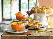 Brunch: pumpkin soup, onion buns and nut croissants