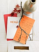 Menu with autumnal decorations