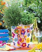 Rosemary & oregano in coloured plastic bag (table decoration)