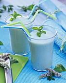 Milchshake mit Minze in Gläsern