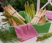 White and green asparagus in green wooden basket