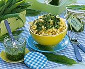 Ribbon pasta with ramsons (wild garlic) pesto