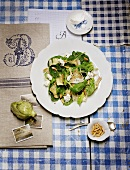 Artichoke salad with pine nuts