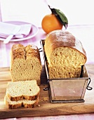 White sandwich bread and orange bread