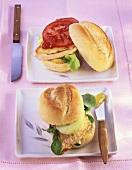 Escalope in a bun with fig mustard, Schnitzel burger