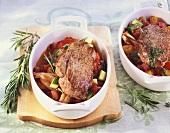 Lamb escalopes with ratatouille