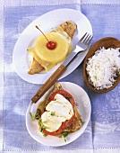 Turkey escalope with mozzarella & tomatoes, 'Hawaiian' escalope