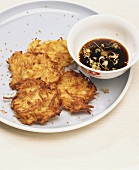 Potato rosti with soya dip