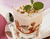 Plum compote with yoghurt and nuts