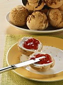 Bread roll with quark and jam