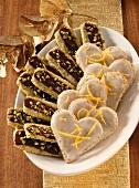 Pistachio sticks, lemon hearts
