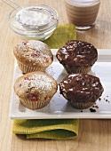 Walnut muffins, chocolate almond muffins