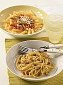 Spaghetti alla carbonara, penne with courgette sauce