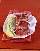 Roast beef rolls with creamed carrots