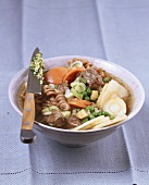 Vegetable and noodle soup with beef