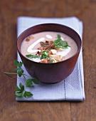 Cep and mushroom soup with smoked pork