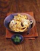 Curried sauerkraut with turkey strips
