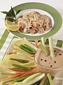 Vitello tonnato, vegetable sticks with tuna sauce
