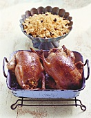 Pigeon with couscous and almond stuffing