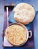 Frying pan bread and caraway and sesame bread
