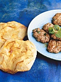 Spicy lamb patties and saffron flatbread (India)