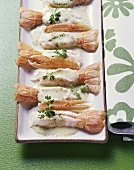Scampi with champagne and chervil sabayon
