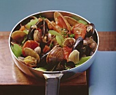 Portuguese pan-cooked shellfish dish