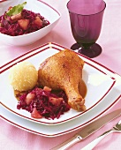 Christmas goose and red cabbage with Cassis