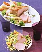 Turkey breast with spring vegetables and dip