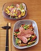 Wok vegetables with duck breast & duck breast & mango salad
