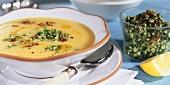 Potato soup with courgettes and gremolata