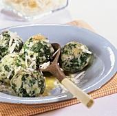 Canederli con gli spinaci (spinach dumplings), S. Tyrol, Italy