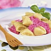 Pine nut gnocchi in pink sauce