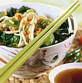 Rice noodles and spinach