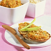 Bread with carrot spread