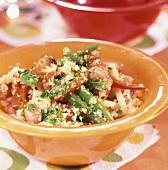 Bulgur wheat and bean salad