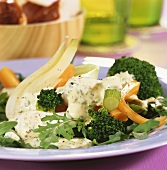 Vegetable salad with mustard cream