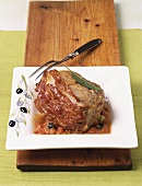 Arrosto di vitello alla romana (roast veal with ham)