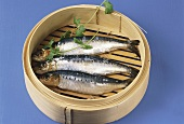 Sardines in steaming basket