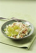 White cabbage salad with grapes