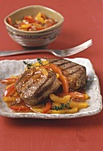 Beef fillet with pepper ragout