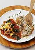 Pork escalope with kale gratin