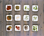 Assortment of herbs & spices used in Mediterranean cuisine