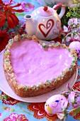 Heart-shaped mazurek with pink icing