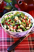 Pea and chick-pea salad with almonds