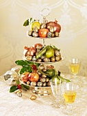 Fruit and nuts on tiered stand (Christmas)
